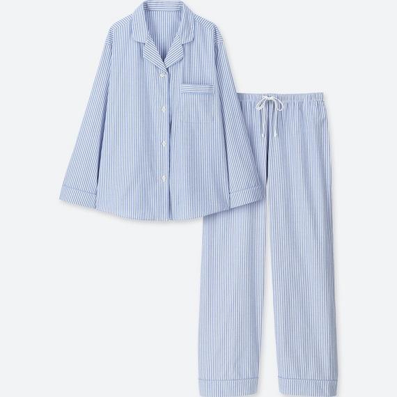ユニクロ コットンパジャマ(ストライプ・長袖)