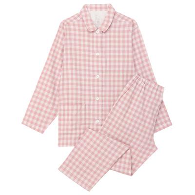 無印良品 脇に縫い目のない二重ガーゼパジャマ ピンク×チェック