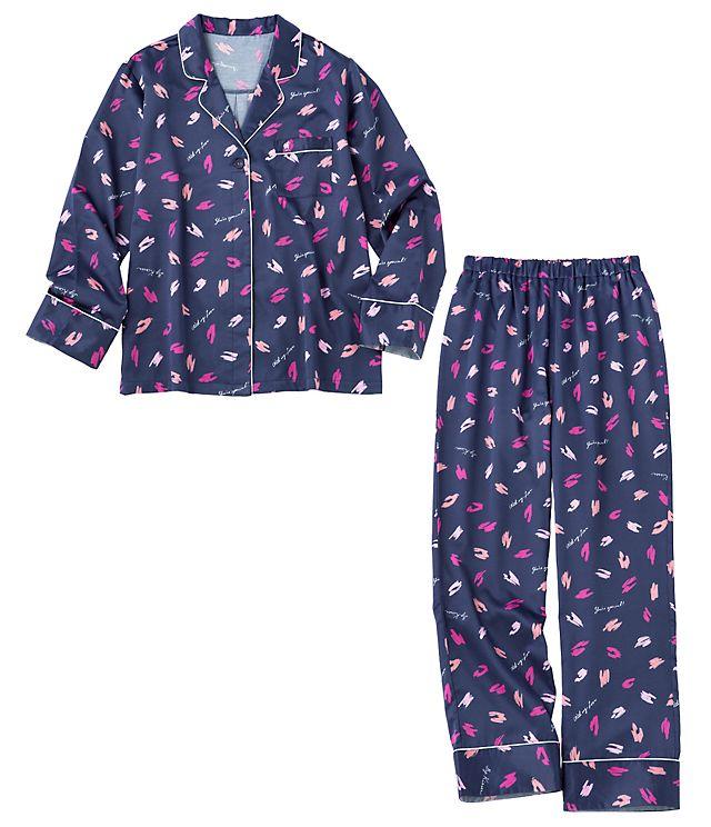 PJ ROOM 裏起毛サテンシャツパジャマ