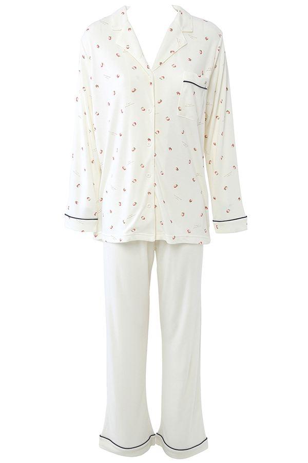 tutuanna スムースイチゴ柄衿付き前開き長袖パジャマ