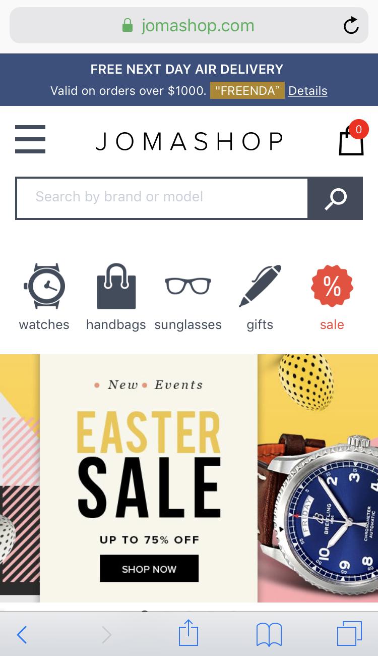 JomashopのTOP画面