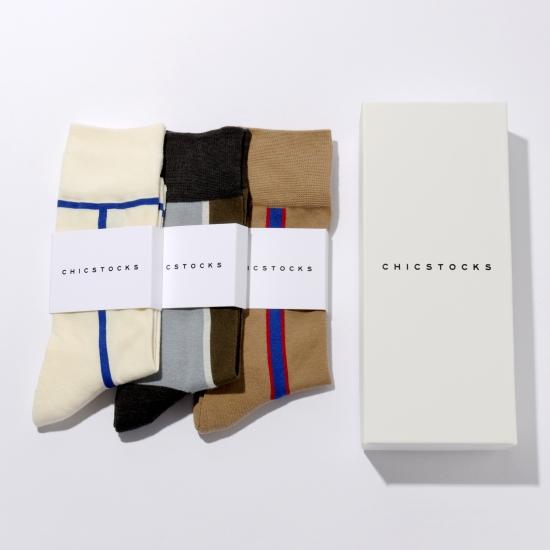 CHICSTOCKS 靴下3パックギフトボックス