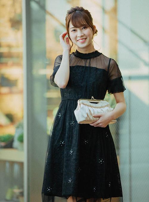 LULUTI Dorry Doll 五分袖ギャザーハイネックチュールワンピース ブラック
