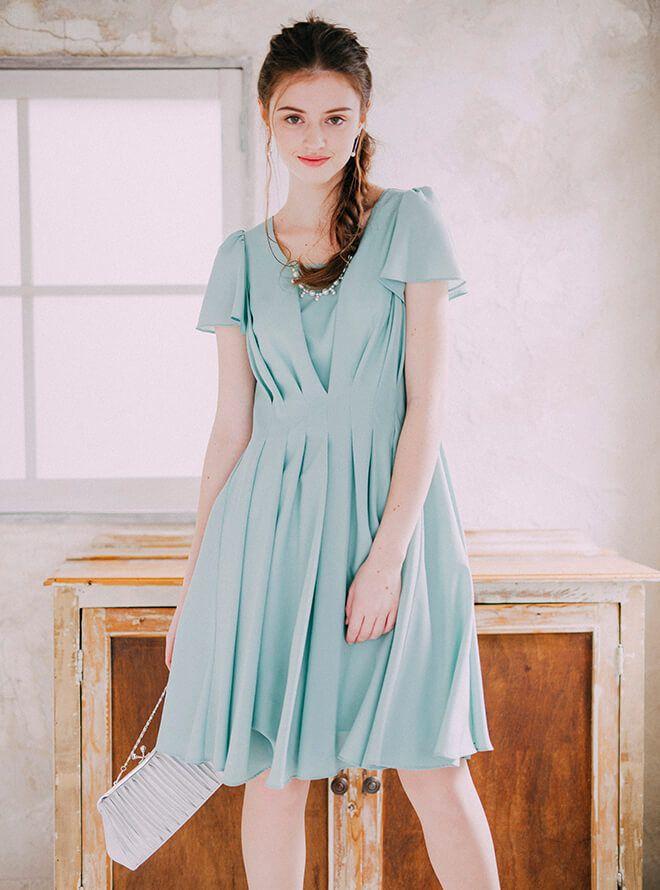 LULUTI レンタルドレス4点セット(ドレス&羽織・バック・イヤリング ミント)
