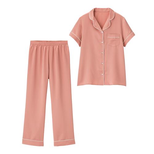 GU サテンパジャマ(半袖&ロングパンツ)+E