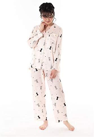 tutuanna サテン猫柄前開き長袖パジャマ