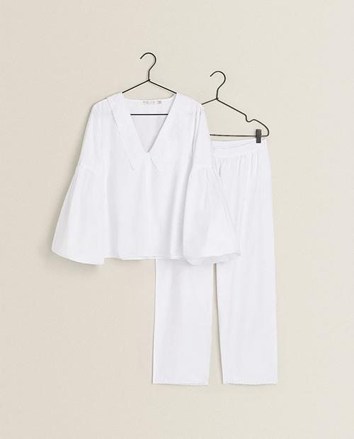 ZARA HOME フラワー刺繍入りパジャマ