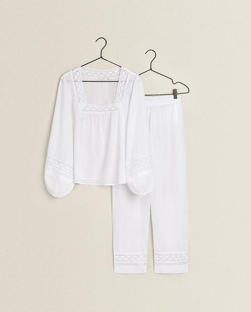 ZARA HOME レーストリム仕上げコットン パジャマ