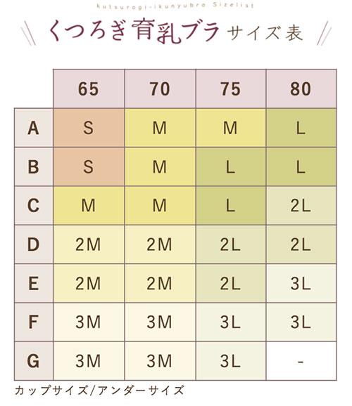 ルルクシェル くつろぎ育乳ブラ サイズ表