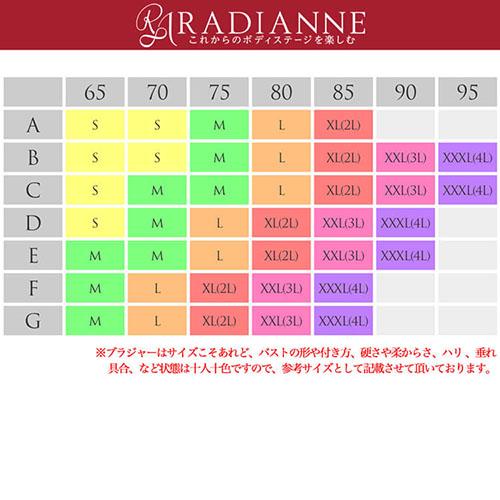 ラディアンヌ すっぴんナイトブラ サイズ表